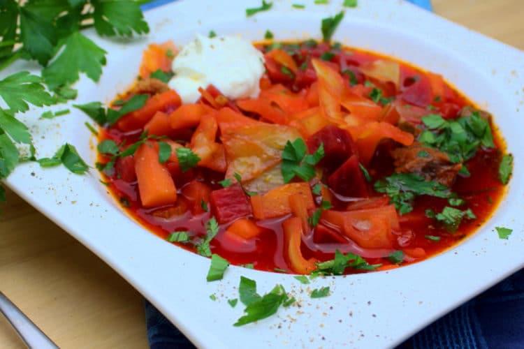 Borschtsch-Grillrezept-die frau am grill-dutch oven