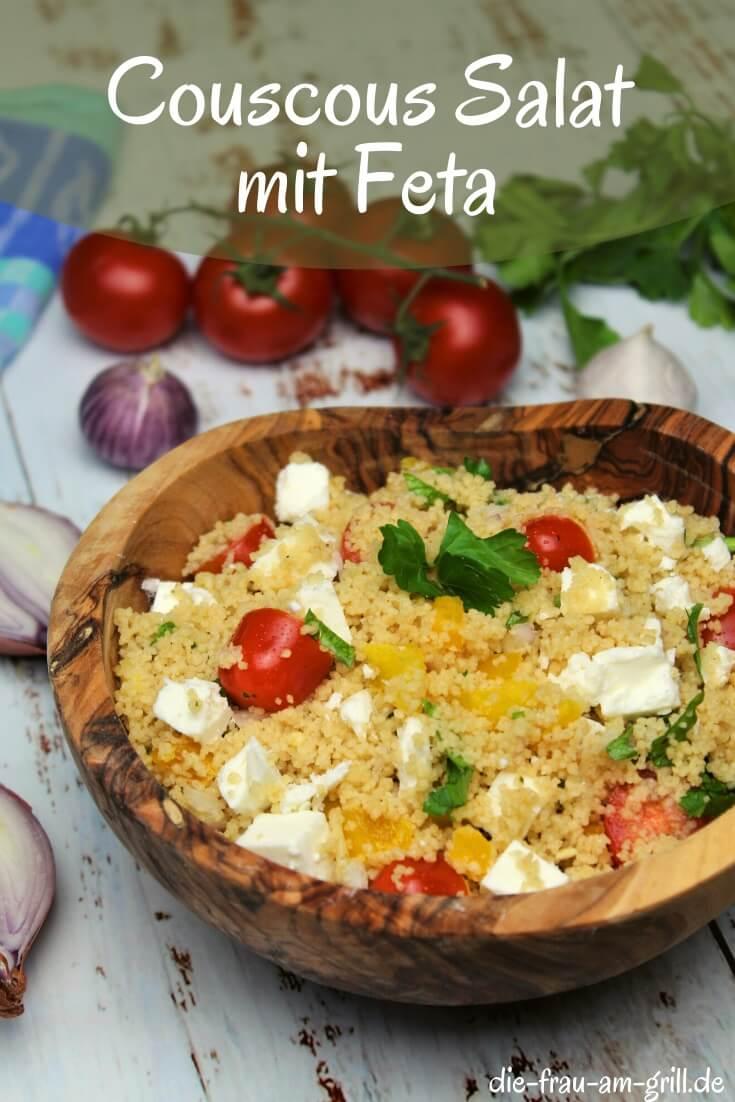Couscous Salat mit feta - pin - die frau am grill