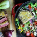 Flank Steak zubereiten - mit Kaese ueberbacken - die frau am grill