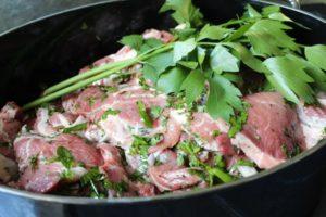 Fleisch mit frischen Kräutern marinieren-Die Frau am Grill