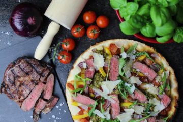 Steak Pizza - die frau am grill