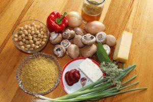 Zutaten für Gefüllte Zucchini vegetarisch