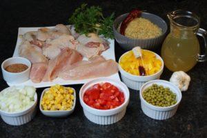 Zutaten für die Hähnchen Paella - die frau am grill