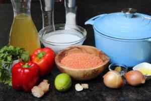 Zutaten für rote Linsensuppe - die frau am grill
