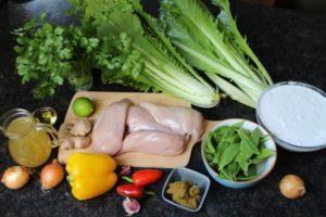 Zutaten fürs Hähnchen Curry - die frau am grill