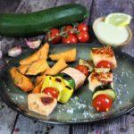 lachsspiesse mit gemuese rezept - die frau am grill